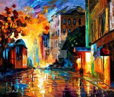Yellow Town by Leonid Afremov by Leonidafremov