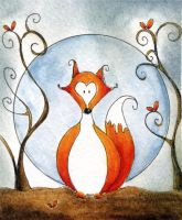 red fox by dragonflywatercolors