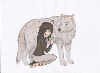 Ali and her wolf by Xia-Kyandy
