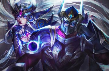 Zed and Syndra LOL FanArt Commission by OrekiGenya