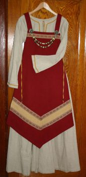 Red Viking apron dress by Laerad