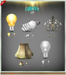 Worked Awhile Lights Icon Set by artbees