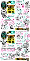 How to draw MONSTER HEADS and FACES tutorial by STUDIOBLINKTWICE
