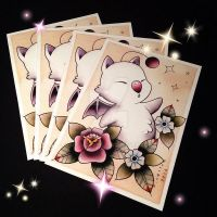 Moogle Tattoo Flash by Michelle Coffee