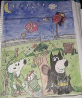 Snoopy and Brian as Robin Hood and Batman by JinxBatstar