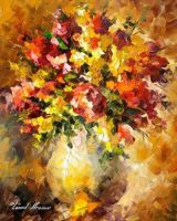 Flowers Of Illusions by Leonid Afremov by Leonidafremov