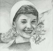 Audrey Hepburn smiling by AngelinaBenedetti
