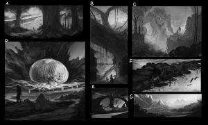 Thumbnails sketches - WHICH ONE SHOULD I FINISH? by iDaisan