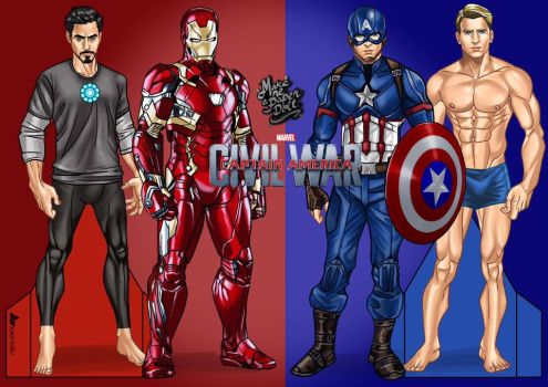 Ironman and Captain America Paper dolls by KenjiArts