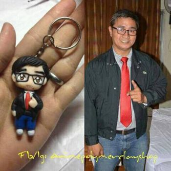 Polymer clay chibi with eyeglasses by 2tsukiko2