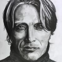 Mads Mikkelsen pencil drawing by callblh
