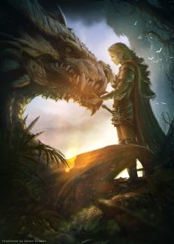 Elf warrior and the dragon by Straban
