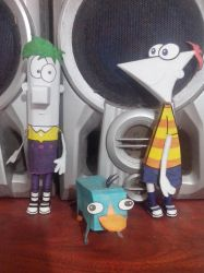 Phineas and Ferb with Perry by Joakin-Morales