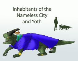 Inhabitants of the Nameless City and Yoth by Spearhafoc