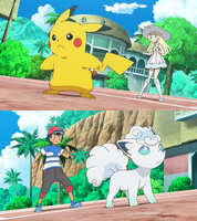 Lillie and Pikachu vs Ash and Snowy by WillDynamo55
