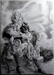 Drawing Gogeta and Vegito by RJEsteves