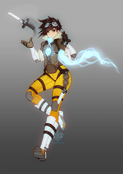 Overwatch Fantasy RPG AU - Tracer the Arcane Rogue by Valkymie