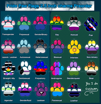 Pre-order: Pride flag paw charms by TomoCreations