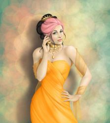 Pink Hair, Orange Dress by CatAstropheBoxes