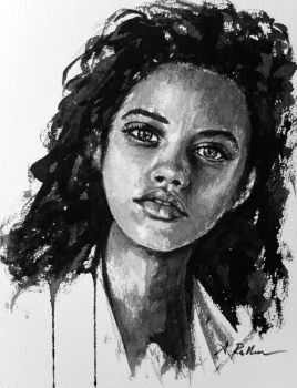 Study, portrait of a young girl by akrathan