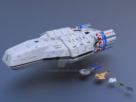Federation Carrier USS Valkyrie Size Comparison 3 by calamitySi