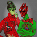 christmas salarians by enormousmoonboots