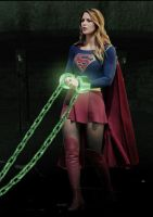 Powerless Supergirl is led away by Tormentor-X