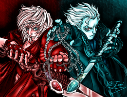 Dante and Vergil (Devil May Cry 3 FanArt) by Vit-Tunissy