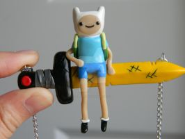 Finn On Scarlet Sword Necklace-Polymer Clay-AT by ThePetiteShop
