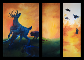 Ambush in Oils - Triptych Assembled by Alithographica