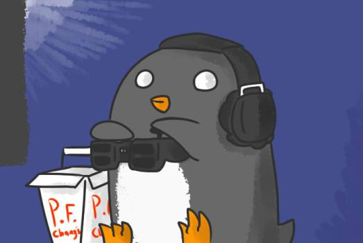 Picky penguin plays games by DerianRPG