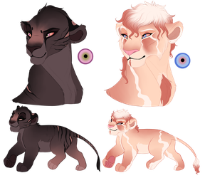 BeeStarART Lion cub degins for resale by Wolfmylove04