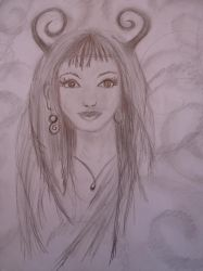 Sketch of a faun girl. by Rominique