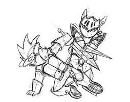 Sparkster vs. Axel sketch by LostMercenary99