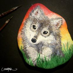 Baby wolf - Stone painting by Ejlen
