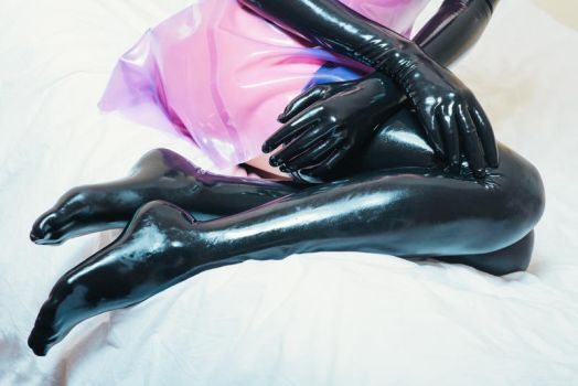 Latex dress on the bed #3 by PascalsProxy