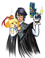 Bayonetta Protects Isabelle! by KellyCis