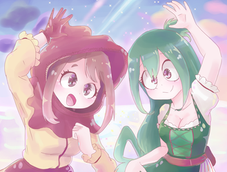 Tsuyu and Ochaco by Azurphore