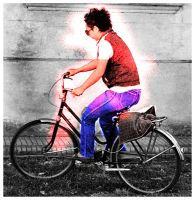 riding a bike by romique
