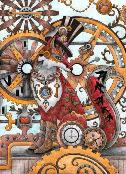 Steampunk Fox Adult Coloring Page by desertwind75