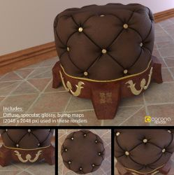 Free 3D Model: Royal Chesterfield Ottoman by LuxXeon