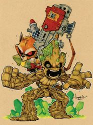 Chibi Rocket and Groot by Red-J