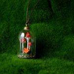 Glass Dome Pendant with Shrooms by falauke