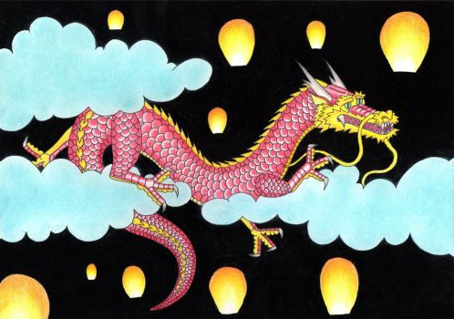 Dragon and Sky Lanterns by ActionMarc