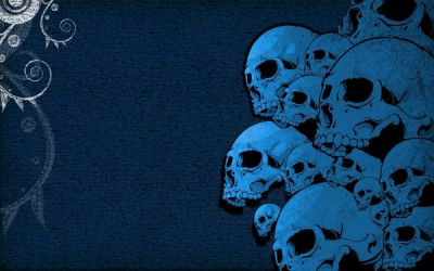 Blue Scribble Skulls by Feuerfeder