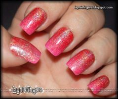 Flamingo Fire Fusion Nails 2 by mslaynie