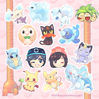 [POINTS ACCEPTED] Pokemon Sun and Moon stickers by ToasterKiwi
