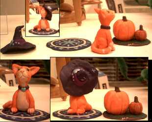 Orangecat and Pumpkin sculptures by ShiningamiMaxwell