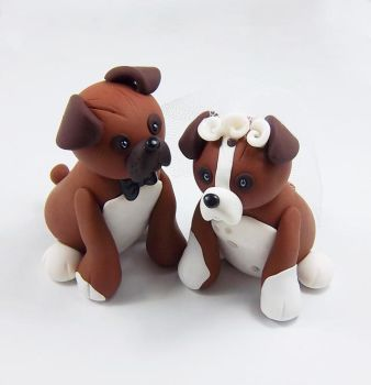 Boxer Dogs Wedding Cake Topper by HeartshapedCreations