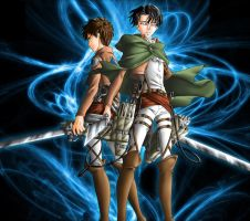 Eren Jaeger and Levi Rivaille by grivitt
